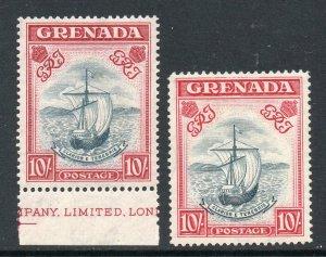 Grenada 1938 KGVI 10/- x2 different perf 14 (narrow) SG 163b, 163e mint CV £350