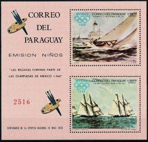 [I1187]  Paraguay 1968 boats good sheet very fine MNH
