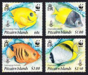 Pitcairn WWF Coral Reef Fish 4v SG#807-810 MI#805-808 SC#705a-d SALE BELOW FACE