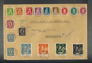 1920 Munich Bavaria Oversize Cover Germany # 238-254 w MO Receipt