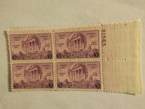 U. S. #782 mint plate block  OG  NH