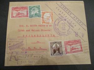1933 El Salvador Pennsylvania First Flight Logo Scarce Registered Airmail Cover