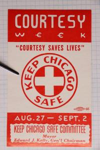 Courtesy Week Keep Chicago Safe save life red cross Union Printer Label 66 seal