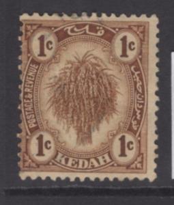 MALAYA KEDAH SG26 1921 1c BROWN USED