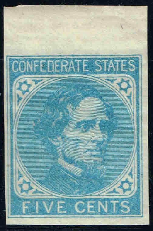 CSA6 TOP MARGIN 1862  5c LIGHT BLUE,De La Rue PRINT CSA ISSUE MINT-OG/NH