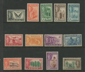Sarawak -Scott 180-192 - KGVI Definitives - 1950 - MNH - Short Set of 13 Stamps