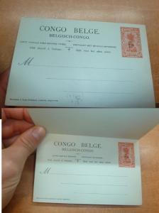 Belgian Congo 15/5c Tree PSC Double Card Unused (13bee)