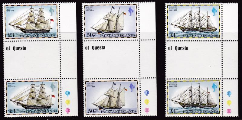 Falkland Islands 1978 Ships Complete (15) Stop Light Margin Gutter Pairs VF/NH