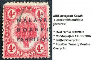 RARE MALAYA 1922 MBE opt Kedah 4c USED with MULTI FEATURES SG#47++ M2410