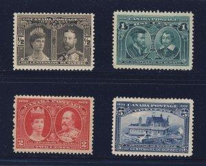 4x Canada  1908 Quebec Stamps #96-MNH 3x No Gum 97-98-99  Guide Value = $150.00