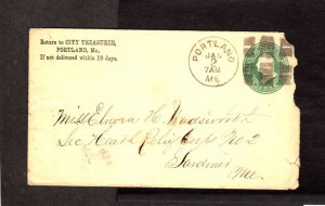 ME City Treasurer Portland Maine Cover 1800's Fancy Grid ? Cancel Stamp Cover