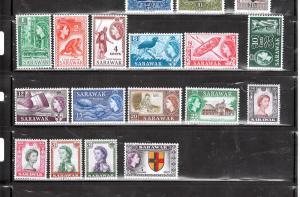 SARAWAK 1955 - 1957 #197 - 211 $120.00 V.V.V.LIGHT HINGE MARK
