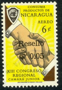NICARAGUA 1964 5c on 6c Surcharged Airmail Sc C537 VFU