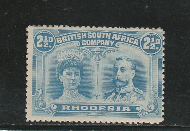 RHODESIA 1910 KGV DOUBLE HEAD 21/2D PERF 14
