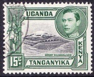 KENYA UGANDA TANGANYIKA KGVI 1952 15c Black & Green SG138 Used