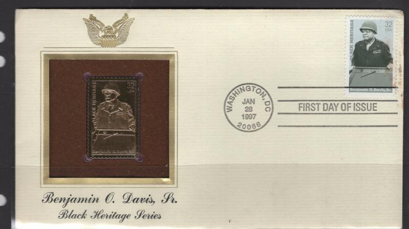 US Stamps 1997 Benjamin O Davis Scott 3121 FDC with Gold Plated Replica F