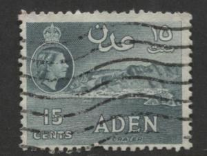 ADEN - Scott 50 - QEII Definitive- Blue Green - 1953- MVLH - Single 15c Stamp