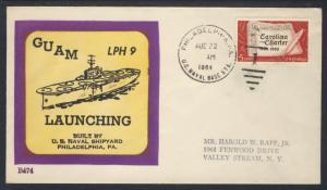 Uss Guam LPH 9 Launching Aug 22 1964 Beck Cachet