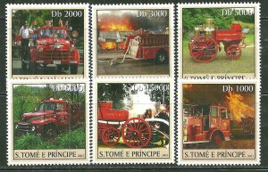 St. Thomas & Prince Islands MNH 1471A-F Various Fire Trucks SCV 9.00
