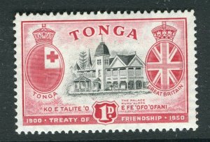 TONGA; 1951 early Treaty issue fine Mint hinged 1d. value