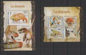ST1966 2016 NIGER DINOSAURS FAUNA PREHISTORIC ANIMALS KB+BL MNH