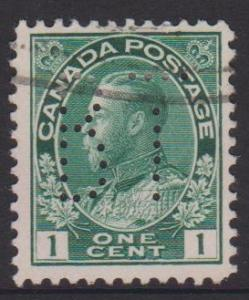 Canada Sc#104 Used Perfin BT