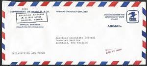 USA EMBASSY KENYA c1995 airmail cover to NZ, MISSENT TO / APO NY 09892.....10733