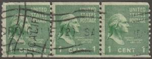 USA stamp,, Scott# 839, used, Strip of 3, Coil stamp, perf 10 vert,  Washington