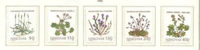 Faroe Islands Sc 48-52 1980 plants-flower stamp set mint NH