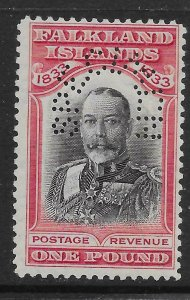 FALKLAND ISLANDS SG138s 1933 CENTENARY £1 BLACK & CARMINE PERF SPECIMEN MNH