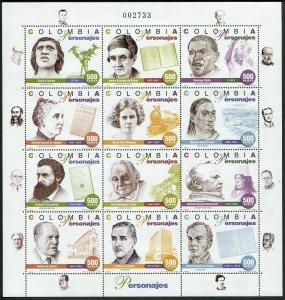 Colombia C899-C900 al sheets,MNH.Michel 2056-2079 Zd-bogens. Personalities,1997.