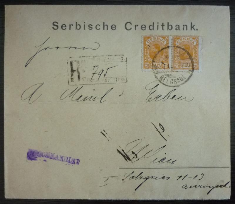 Serbia - attractive R-cover, franked 2 x 20p, sent from Belgrade to Austria RR!!