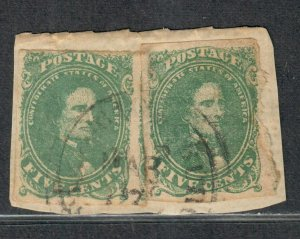 CSA Sc#1 Used/VF, Stone 1 On Piece, 2 Stamps CDS, Cv. $400