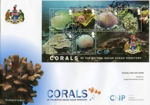 BIOT Br Indian Ocean Territory 2017 FDC Corals Chagos 6v M/S Cover Marine Stamps