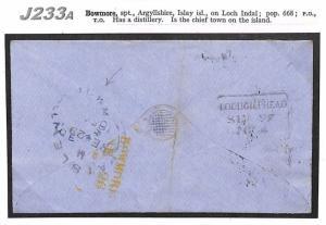 J233a 1864 GB Scotland/Argyll/Bowmore/Loughgilphead/Paisley/Charity