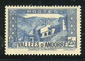 FRENCH ANDORRA; 1932 early Pictorial issue fine Mint hinged 2.50Fr. value