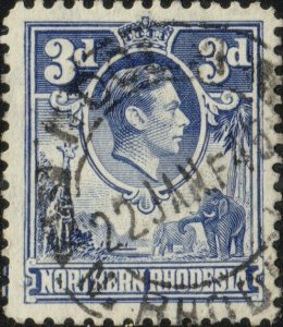 NORTHERN RHODESIA - 1945 very fine NDOLA double circle ds on SG34 3d blue