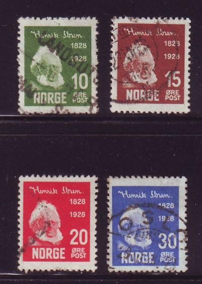 Norway Sc 132-5 1928 100th Anniversary birth of Ibsen stamp set used