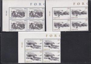 Faroe Islands # 83-85, City Views, Corner Blocks of Four, NH, 1/3 Cat.