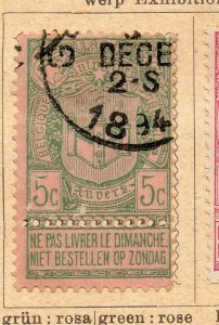 Belgium 1894 Early Issue Fine Used 5c. NW-07918