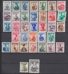 J29497, 1948-52 austria set mh #520//56, no 539, 547, women costumes