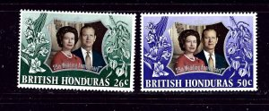 British Honduras 306-07 MNH 1972 QEII Silver Wedding