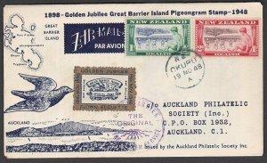 NEW ZEALAND 1948 Gt Barrier Island pigeon mail anniv cover + cinderella.....P267