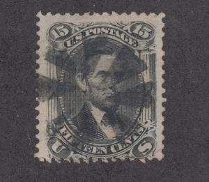 US Sc 91 used. 1867 15c black Lincoln E Grill, fancy cancel.