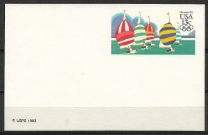 1983 USA UX100 Olympics Yachting mint Postal card