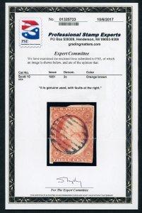 #10 – 1851-57 3c George Washington, imperforate,  Used. PSE Cert.