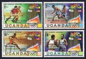 Uganda 304-307,308,MNH.Michel 286-289,Bl.25. Olympics Moscow-1080,Winners.Soccer
