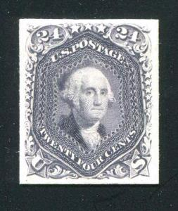 Proof on Card 78P4 24c Gray (Lilac) 1861 VF