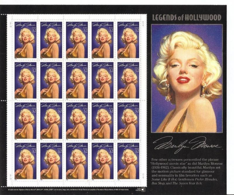 US stamps sheet: MARILYN MONROE, Legend of Hollywood, Sc # 2967 MNH