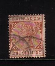 Barbados Sc 67 1882 1 shilling Victoria stamp used